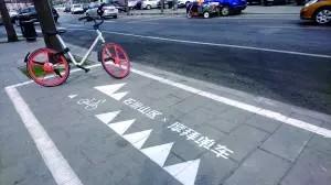标注是摩拜的专属车位,但在这些区域停车的也不只有摩拜一家的自行车.图片